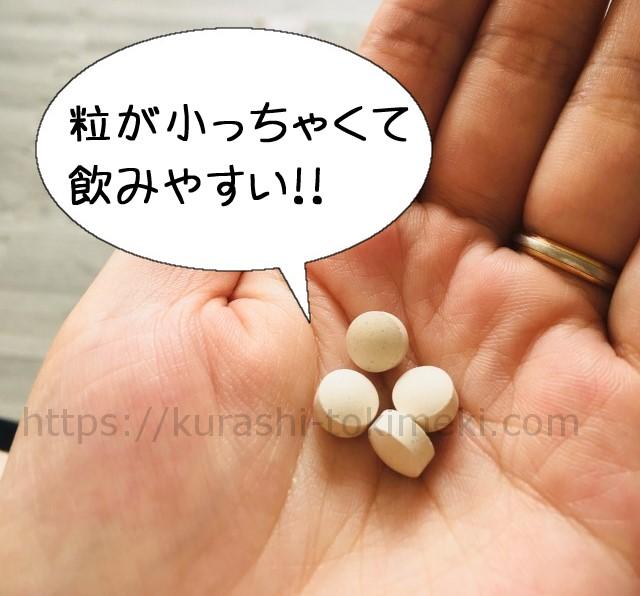 mitete葉酸サプリの粒は小さくて飲みやすい