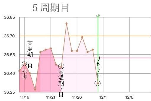 5周期目の基礎体温グラフ