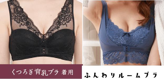 くつろぎ育乳ブラとふんわりルームブラの前面の違いを比較