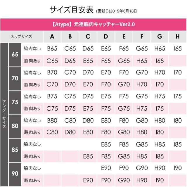 脇肉キャッチャーのサイズ表