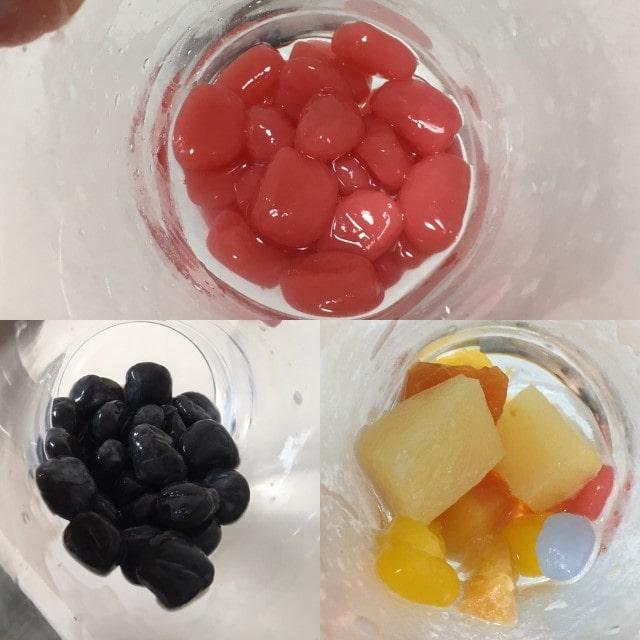 お嬢様酵素の中にはいっているタピオカやフルーツ